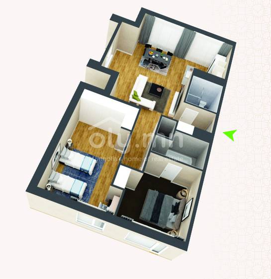 ID 261, Khoroo 4 байршилд for rent зарын residential Apartment төсөл 1