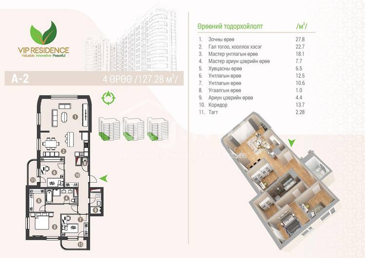 ID 1284, Khoroo 4 байршилд for rent зарын residential Apartment төсөл 1