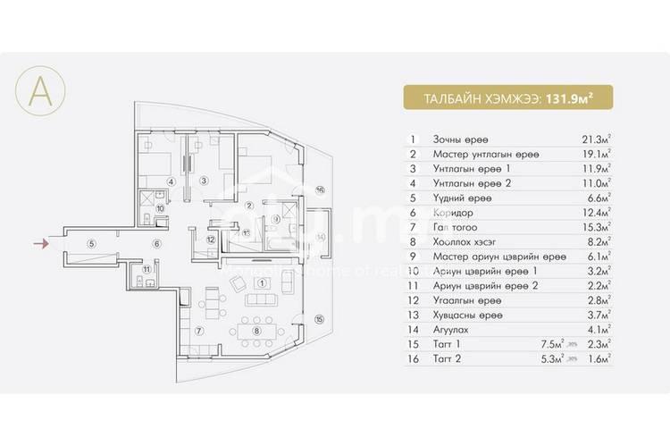 ID 155, Khoroo 4 байршилд for rent зарын residential Apartment төсөл 1