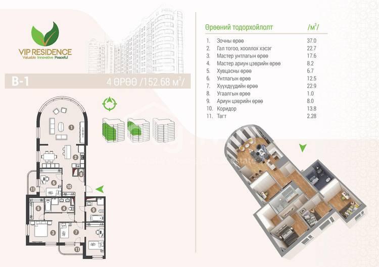 ID 1288, Khoroo 4 байршилд for rent зарын residential Apartment төсөл 1