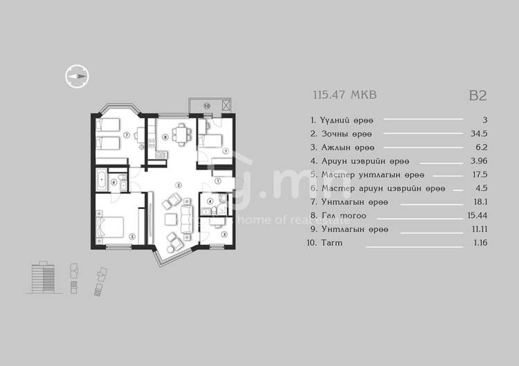 ID 1377, Khoroo 4 байршилд for sale зарын residential Apartment төсөл 1