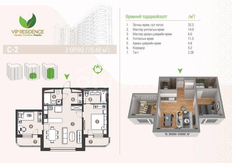 ID 1291, Khoroo 4 байршилд for rent зарын residential Apartment төсөл 1