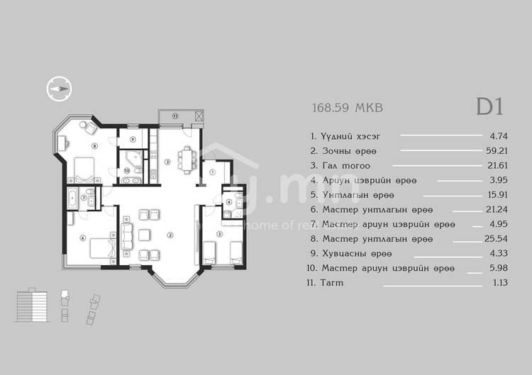 ID 1381, Khoroo 4 байршилд for sale зарын residential Apartment төсөл 1