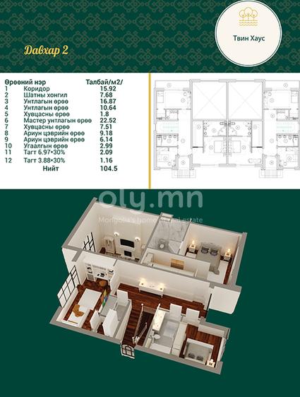ID 1993, Khoroo 4 байршилд for rent зарын residential Apartment төсөл 1