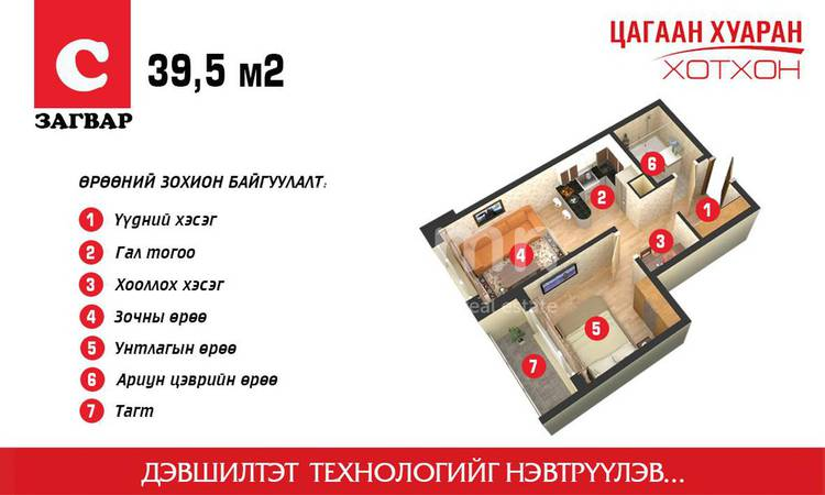 ID 1860, Khoroo 14 байршилд for sale зарын residential Apartment төсөл 1
