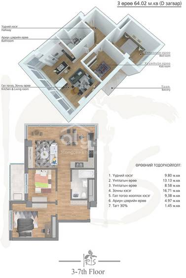 ID 2002, Khoroo 4 байршилд for rent зарын residential Apartment төсөл 1