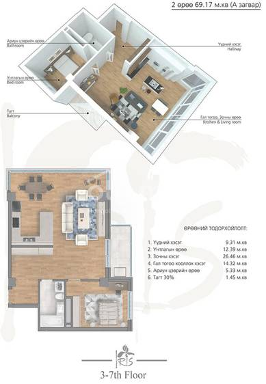 ID 1999, Khoroo 4 байршилд for rent зарын residential Apartment төсөл 1