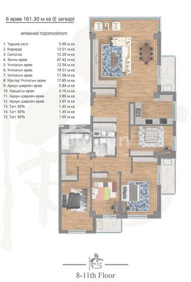 ID 2004, Khoroo 4 байршилд for rent зарын residential Apartment төсөл 1
