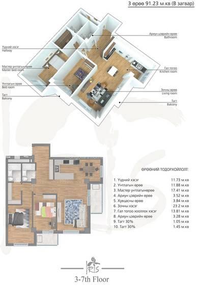 ID 2000, Khoroo 4 байршилд for rent зарын residential Apartment төсөл 1